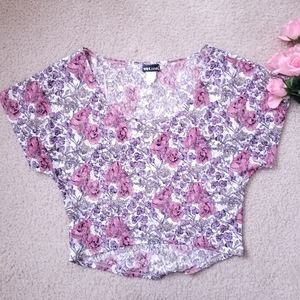 Wet Seal Pink Floral Lace Loose Crop Top